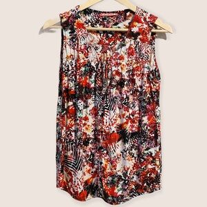 D.E.P.T. Red Abstract Print Button Front Tank